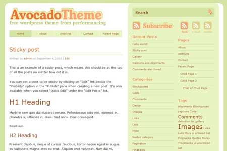 Avocado Theme