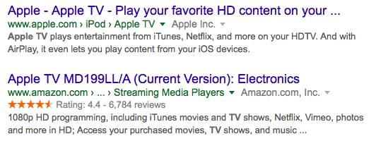 apple tv google rich snippets